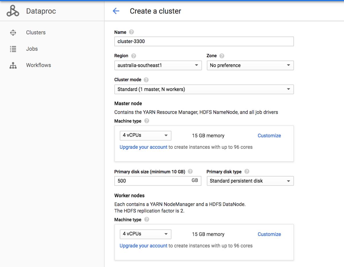 Setup Spark Cluster in Google Cloud Data Proc