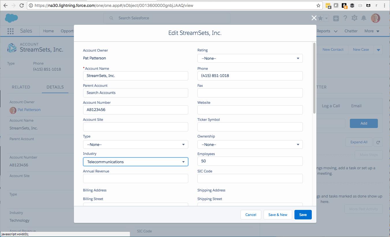 Edit StreamSets Account Record