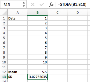Excel mean and SD