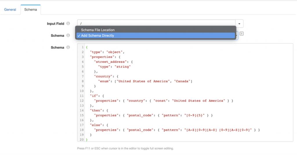 JSON schema validator add schema